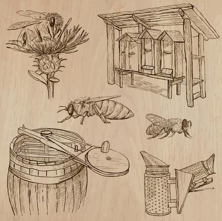 fumigador: Abejas, apicultura y la miel. Colección de una dibujados a mano ilustraciones vectoriales (paquete no.7). Cada uno dispone de dibujo de tres o cuatro capas de líneas, el color de fondo se aísla. Vectores