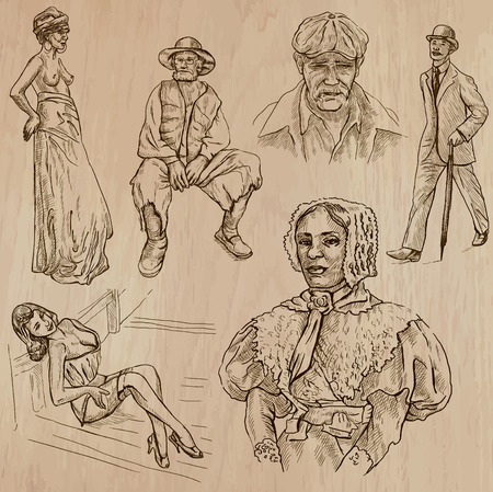 social history: FASHION between the years 1870-1970. Collection of an hand drawn illustrations (vectors - pack no.1). Each drawing comprises of three or four layers of lines, the colored background is isolated. Easy editable.