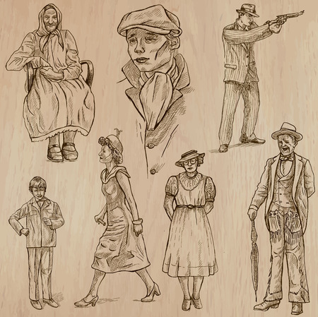 social history: FASHION between the years 1870-1970. Collection of an hand drawn illustrations (vectors - pack no.2). Each drawing comprises of three or four layers of lines, the colored background is isolated. Easy editable.