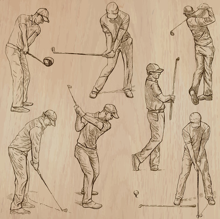 GOLF, Golfers, Golf , and Golf Equipment. Collection of an hand drawn illustrations (line art vectors - pack no.3). Each drawing comprises of three or four layers of lines, background is isolated. Easy editable. Иллюстрация