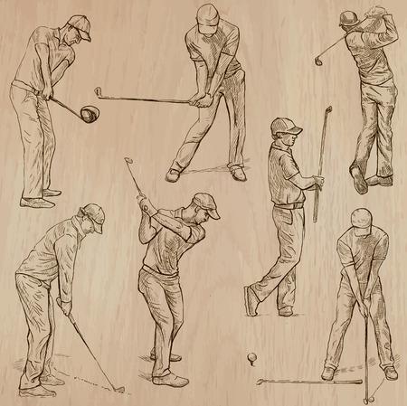 GOLF, Golfspieler, Golf und Golf-Ausrüstung. Sammlung von einer Hand gezeichnet Abbildungen (Strichzeichnungen Vektoren - Packung Nr.3). Jede Zeichnung besteht aus drei oder vier Schichten von Linien, ist Hintergrund. Leicht bearbeitbar. Vektorgrafik