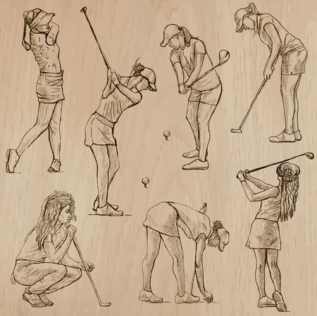 GOLF, Golfers, Golf , and Golf Equipment. Collection of an hand drawn illustrations (line art vectors - pack no.4). Each drawing comprises of three or four layers of lines, background is isolated. Easy editable.