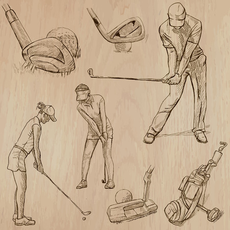 digest: GOLF, Golfers, Golf , and Golf Equipment. Collection of an hand drawn illustrations (line art vectors - pack no.5). Each drawing comprises of three or four layers of lines, background is isolated. Easy editable. Illustration