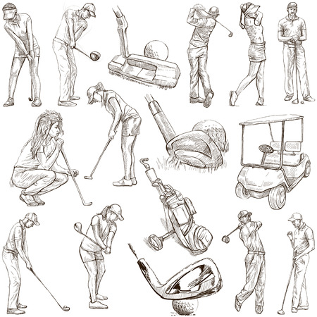 digest: GOLF, Golfers, Golf impact positions and Golf Equipment. Collection of an hand drawn full sized illustrations (originals), pack no.1. Drawings on white background.