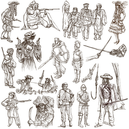 military draft: From series: WARRIORS and SOLDIERS - Collection of an hand drawn illustrations. Description: Full sized hand drawn illustrations, original freehand sketches on white. Pack no.5 Stock Photo