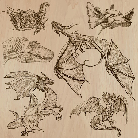 flying dragon: DRAGONS. Collection of an hand drawn illustrations (line art vectors - pack no.3). Each drawing comprises of three or four layers of lines, colored wooden background is isolated. Easy editable. Illustration