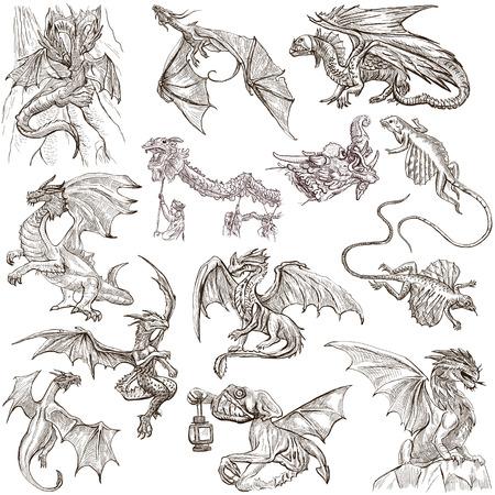 the dragons: DRAGONS. Colecci�n de una mano dibujado ilustraciones de tama�o completo (bocetos a mano alzada, originales). Dibujos sobre fondo blanco. Foto de archivo