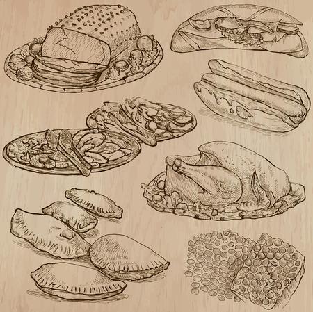 dinner food: Comida y bebidas en todo el mundo (juego no.13) - Colecci�n de una dibujados a mano ilustraciones de vectores. Cada dibujo comprenden tres o cuatro capas de l�neas, el color de fondo es aislado. Editable. Vectores