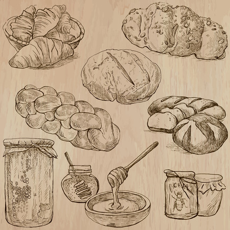 wholemeal: FOOD and Drinks around the World (set no.14 - Healthy Lifestyle) - Collection of hand drawn vector illustrations. Each drawing comprise three or four layers of lines. Wooden background is isolated. Illustration