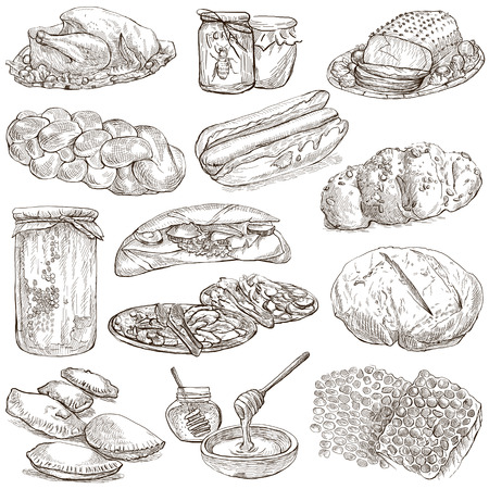 jamaican food: From series: FOOD and DRINKS - Collection of an hand drawn illustrations. Description: Full sized hand drawn illustrations, original freehand sketches on white. Pack no.7
