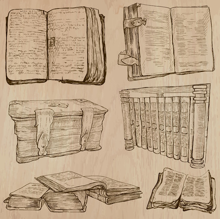 the publisher: BOOKS. Collection of an hand drawn illustrations (line art vectors - pack no.2). Each drawing comprises several layers of lines, the colored background is isolated. Editable.