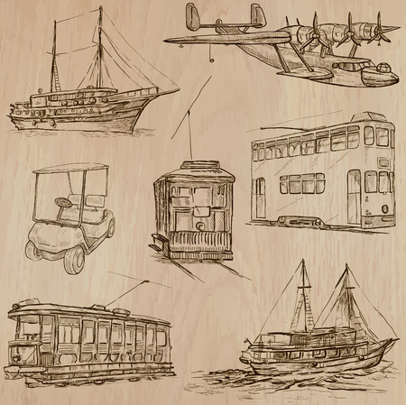 clipper: Transport, Transportation and Vehicles. Collection of an hand drawn vector illustrations (line art vectors - pack no.11). Each drawing comprises of three or four line layers. Colored wooden background is isolated. Editable.