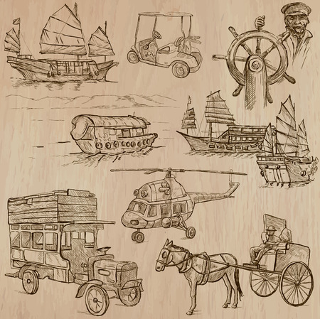 draft horse: Transport, Transportation and Vehicles. Collection of an hand drawn vector illustrations (line art vectors - pack no.12). Each drawing comprises of three or four line layers. Colored wooden background is isolated. Editable.