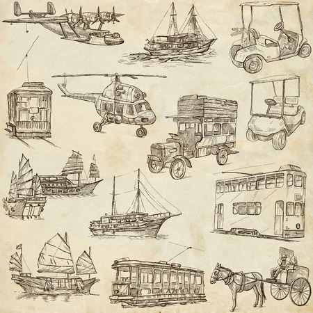 draft horse: Transport and Vehicles around the World - Collection of an hand drawn illustrations (pack no.6). Description: Full sized hand drawn illustrations, original freehand sketches on old paper. Stock Photo