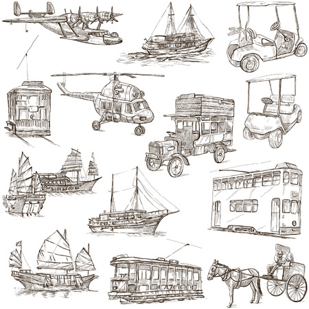 clipper: Transport and Vehicles around the World - Collection of an hand drawn illustrations (pack no.6). Description: Full sized hand drawn illustrations, original freehand sketches on white background.