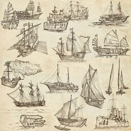 sized: Boats and Ships around the World. Collection of an hand drawn illustrations. Description: Full sized hand drawn illustrations. Original freehand sketches on old paper.