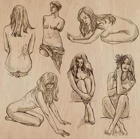 desnudo artistico: La desnudez en el arte. La desnudez como inspiraci�n. Colecci�n de una dibujados a mano ilustraciones (vector paquete no.2). Cada dibujo comprende varias capas de l�neas, el color de fondo es aislado. F�cil editable. Vectores