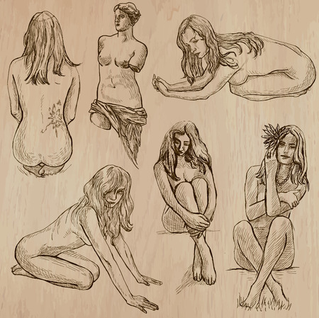 nudity: Nudity in Art. Nudity as Inspiration. Collection of an hand drawn illustrations (vector pack no.2). Each drawing comprises several layers of lines, the colored background is isolated. Easy editable.