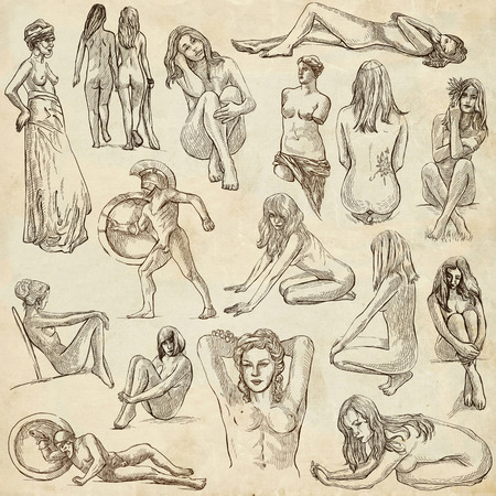 Nudity in Art. Nudity as Inspiration. Collection of an hand drawn illustrations. Full sized hand drawn illustrations, freehand sketches. Originals, drawing on old paper.