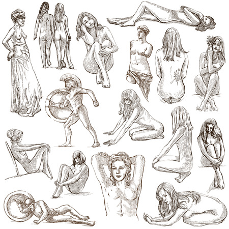 Nudity in Art. Nudity as Inspiration. Collection of an hand drawn illustrations. Full sized hand drawn illustrations, freehand sketches. Originals, drawing on white background.