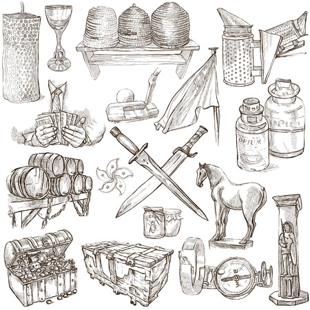 draft horse: OBJECTS - Collection (no.5) of an hand drawn illustrations. Description - Full sized hand drawn illustrations, freehand sketches, drawing on white background.