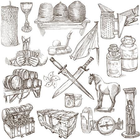 cofre del tesoro: OBJETOS - Collection (no.5) de una dibujados a mano ilustraciones. Descripción - dibujado a mano de tamaño completo ilustraciones, bocetos a mano alzada, dibujo sobre fondo blanco.