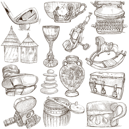 OBJECTS - Collection (no.6) of an hand drawn illustrations. Description - Full sized hand drawn illustrations, freehand sketches, drawing on white background. illustration