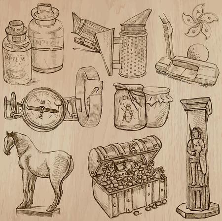 cofre del tesoro: OBJETOS (conjunto no.10) - Colecci�n de una dibujados a mano ilustraciones de vectores. Cada dibujo comprenden unas pocas capas de l�neas, el color de fondo se a�sla. F�cil editable.