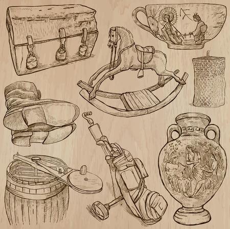 chinese tea cup: OBJETOS (conjunto no.12) - Colecci�n de una dibujados a mano ilustraciones de vectores. Cada dibujo comprenden unas pocas capas de l�neas, el color de fondo se a�sla. F�cil editable.