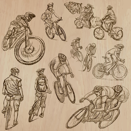 CYCLING and CYCLISTS (set no.1) - Collection of an hand drawn vector illustrations. Each drawing comprise a few layers of lines, the colored background is isolated. Easy editable.