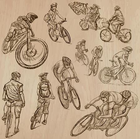 ciclismo: Ciclismo y CICLISTAS (set no.1) - Colección de una dibujados a mano ilustraciones de vectores. Cada dibujo comprenden unas pocas capas de líneas, el color de fondo se aísla. Fácil editable. Vectores
