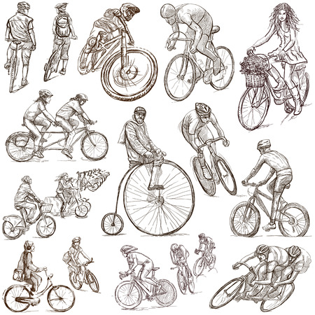 CYCLING and CYCLISTS - Collection of an hand drawn illustrations. Description - Full sized hand drawn illustrations, freehand sketches, drawing on white background. illustration