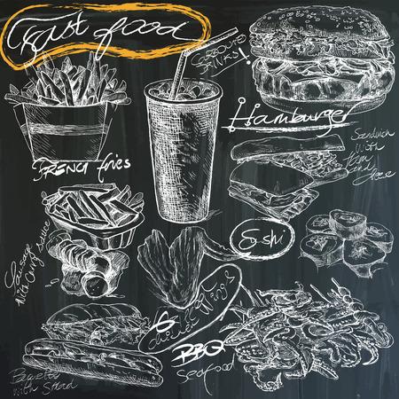comida alemana: Comida y bebidas. Lema, comida r�pida. Dibujado a mano vector ilustraciones en blanco en la pizarra. F�cil editable por capas y grupos. Vectores