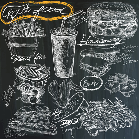 sea food: Food and Drinks. Slogan, FAST FOOD. Hand drawn white vector illustrations on blackboard. Easy editable in layers and groups.