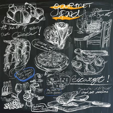 Food and Drinks. Slogan, GOURMET FOOD. Hand drawn white vector illustrations on blackboard. Easy editable in layers and groups.