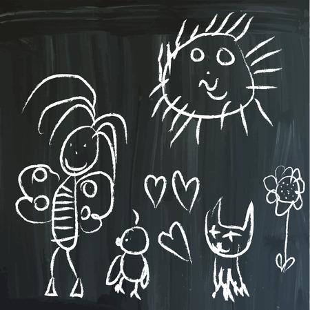 little bird: De la serie: los mensajes de los ni�os en una pizarra. Alegr�a en el Prado - Mariposa, peque�o p�jaro, gato y Sun. Dibujado a mano vector ilustraciones en blanco en la pizarra. Editable. Vectores