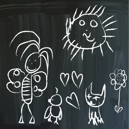 little bird: From series: childrens messages on a blackboard. Joy in the Meadow - Butterfly, Little bird, Cat and Sun. Hand drawn white vector illustrations on blackboard. Editable.
