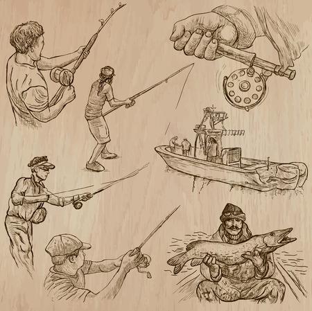 pescador: Pesqueros y los pescadores (juego no.4) - Colección de una dibujados a mano ilustraciones de vectores. Cada dibujo comprenden unas pocas capas de líneas, el color de fondo se aísla. Fácil ilustración vectorial editable.