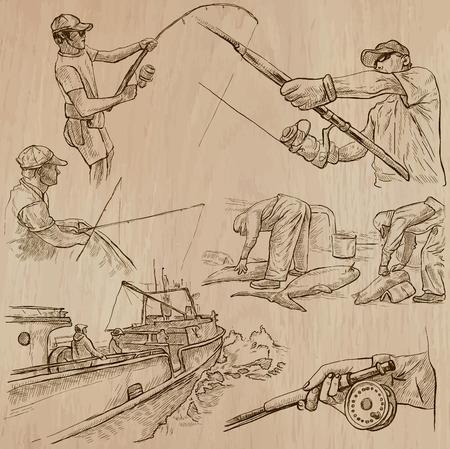 Vissen en FISHERS (set no.5) - Het verzamelen van een hand getrokken vector illustraties. Elke tekening bestaat uit een paar lagen van de lijnen, wordt de gekleurde achtergrond geïsoleerd. Gemakkelijk bewerkbare vectorillustratie.