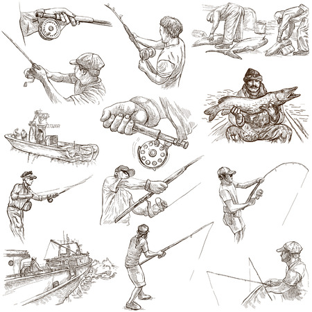 FISHING and FISHERS. Collection of an hand drawn illustrations. Description - Full sized hand drawn illustrations, freehand sketches, drawing on white background (isolated on white). Фото со стока