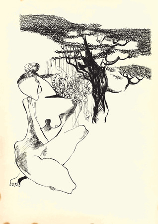 naked woman: Naked Woman (posing under a few trees). An hand drawn vector illustration from the series: Art of Line Art. Technique: Digital drawing.