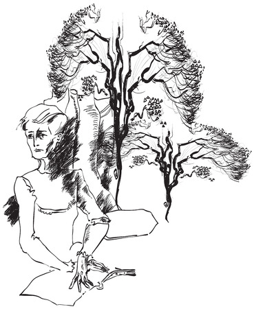 Reader (Character is reading a book under a tree). An hand drawn vector illustration from the series: Art of Line Art. Technique: Digital drawing. Vector