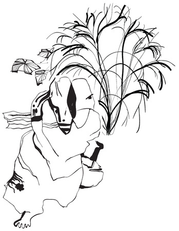 philosopher: Philosopher meditating under trees. An hand drawn vector illustration from the series: Art of Line Art. Technique: Digital drawing. Illustration