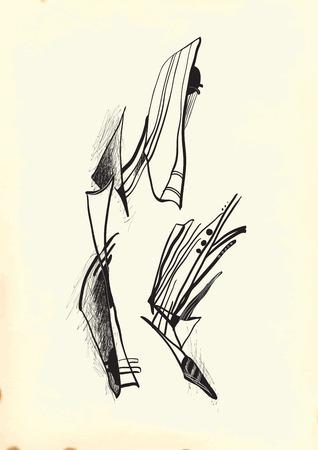 cubismo: Abstracción por el cubismo. Una ilustración vectorial de dibujado a mano de la serie: Arte del Diseño de trazado. Técnica: Dibujo Digital. Vectores