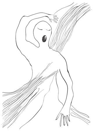 streckbilder: Gäspning, på morgonen. En handritad vektor illustration från serien: Art of Line Art. Teknik: Digital ritning.