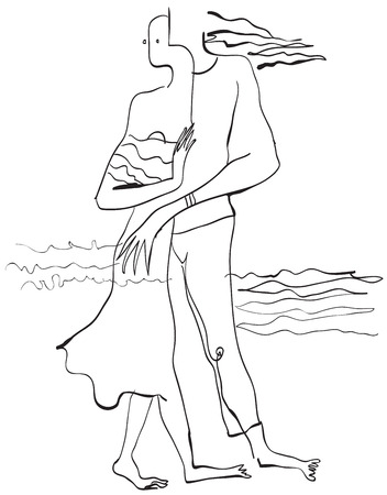 shore line: Lovers on the sea shore. An hand drawn vector illustration from the series: Art of Line Art. Technique: Digital drawing. Illustration
