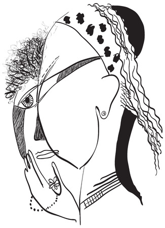 gypsy: Gypsy woman. An hand drawn vector illustration from the series: Art of Line Art. Technique: Digital drawing.