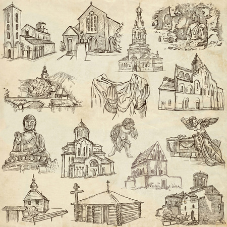 place of worship: PLACES OF WORSHIP - Collection of an hand drawn illustrations. Description - Full sized hand drawn illustrations, freehand sketches, drawing on old paper. Stock Photo