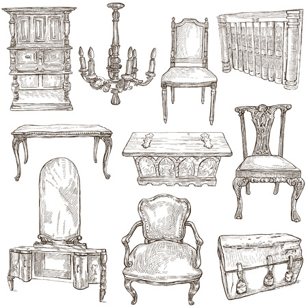 coffer: FURNITURE - Collection (no.2) of an hand drawn illustrations. Description - Full sized hand drawn illustrations, freehand sketches, drawing on white.