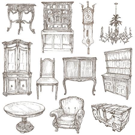 no1: FURNITURE - Collection (no.1) of an hand drawn illustrations. Description - Full sized hand drawn illustrations, freehand sketches, drawing on white.